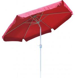 Parasol aluminium et toile rouge avec volants Ø250