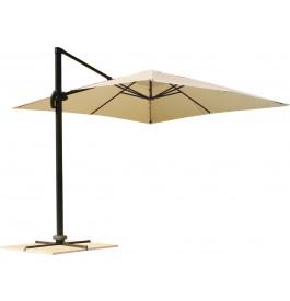 Parasol déporté carré aluminium et toile écru L300