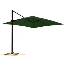 Parasol déporté carré aluminium et toile verte L300