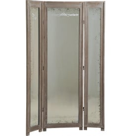 Paravent miroir bois exotique gris patiné 3 volets