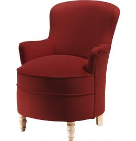 Petit fauteuil assise arrondie tapissé tissu rouge pieds tournés laqués blanc