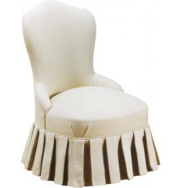 Petit fauteuil lambrequin tapissé tissu blanc