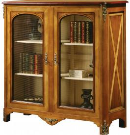 Petite bibliothèque merisier massif 2 portes grillage