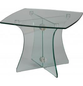 Petite table basse carrée verre trempé courbé