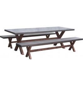 Salon de jardin 8 places fibre de ciment aspect b ton pieds acacia for Avis table de jardin alu fibre de ciment