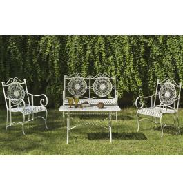 Salon de jardin acier forgé blanc 1 canapé 2 fauteuils 1 ...