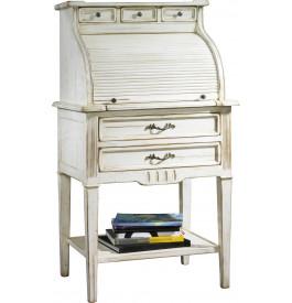 Secrétaire double plateau rideau coulissant blanc 5 tiroirs