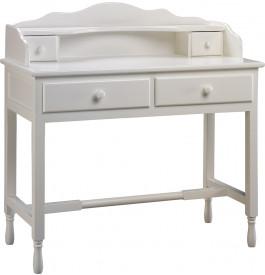 Secr taire pin laque blanc 1 niche 4 tiroirs for Secretaire meuble habitat