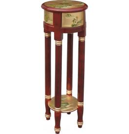 Sellette chinoise ronde laque d'or et rouge 1 tiroir