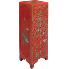 Semainier chinois laque rouge 8 tiroirs