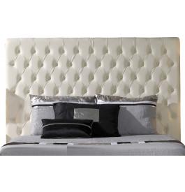Tête de lit capitonnée simili cuir blanc pour lit 140