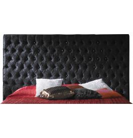 Tête de lit capitonnée étoffée velours noir pour lit 140