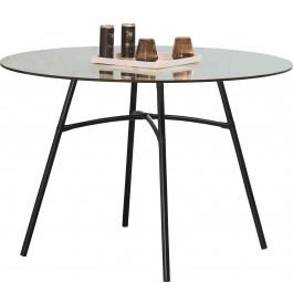 Table TOKAY ronde fer noir plateau verre sécurit Ø110
