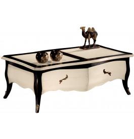 Table basse Louis XV rectangulaire galbée 2 tiroirs