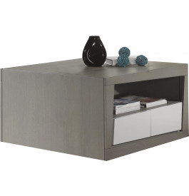 Table basse carré chêne massif gris 2 tiroirs 1 niche