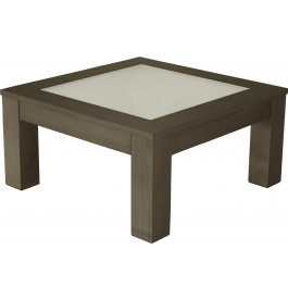 Table basse carrée chêne gris titane plateau verre