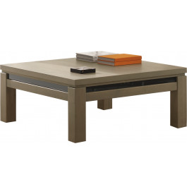 Table basse carr e ch ne taupe d cor verre noir for Table basse scandinave taupe