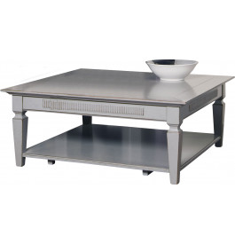 Table basse carrée double plateau laque grise
