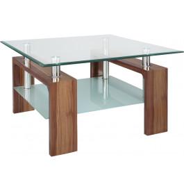 Table basse carrée double plateau verre décor noyer