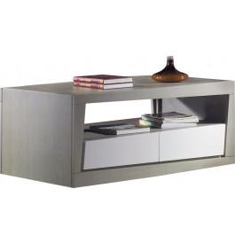 Table basse chêne massif gris 2 tiroirs 1 niche