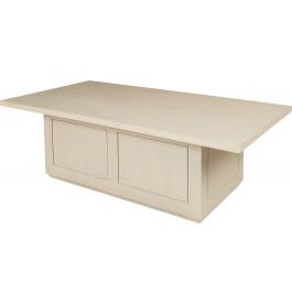 Table basse coffre chêne massif blanc pierre plateau coulissant