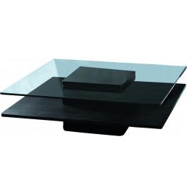 Table basse couleur wengé plateau en verre trempé