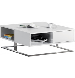 Table basse design carrée laque blanc 2 tiroirs pieds inox