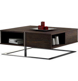 Table basse design chêne chocolat 2 tiroirs pieds inox
