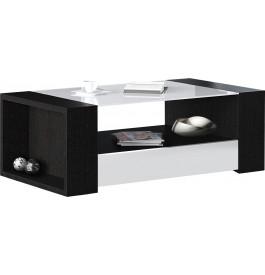 Table basse design chêne noir laque blanche plateau verre