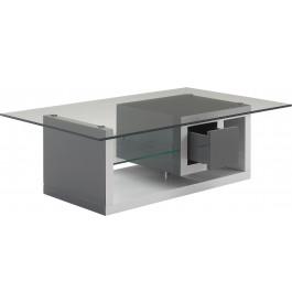 Table basse design laque blanc et gris anthracite 1 tiroir 1 étagère et plateau verre