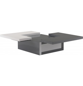 Table basse design laque blanc et gris anthracite plateau excentr - Table basse laque blanc et gris ...