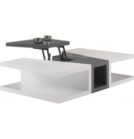 Table basse design laque blanc et gris anthracite plateau relevable