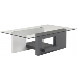 Table basse design laque blanc et gris anthracite plateau verre