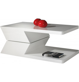 Table basse design laque blanche plateau pivotant