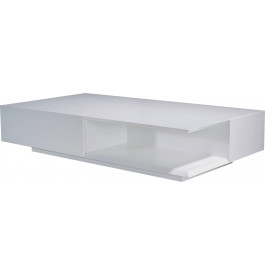 table basse design rectangulaire laque blanc brillant 2 tiroirs. Black Bedroom Furniture Sets. Home Design Ideas