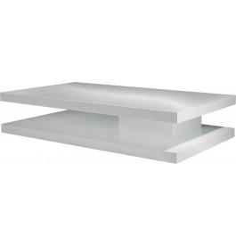 Table basse design rectangulaire laque blanc brillant double plateau