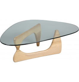 Table basse design verre trempé pied sapin naturel