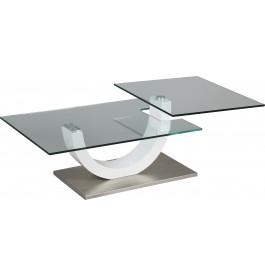 Table Basse Design Verre Trempe Plateau Pivotant Pied Laque Blanc