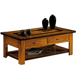 Table basse double plateau 2 tiroirs