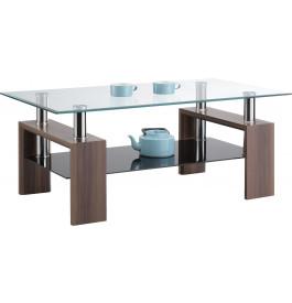 Table basse double plateau verre décor noyer