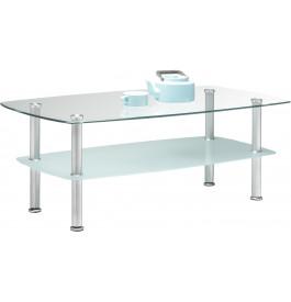 Table basse double plateau verre pieds métal