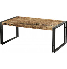 table basse industrielle rectangulaire acacia m tal. Black Bedroom Furniture Sets. Home Design Ideas