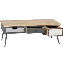 Table basse palissandre vieillie 3 tiroirs - détail