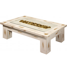 Table Basse Rectangulaire Chêne Massif Blanc Vitrée L120
