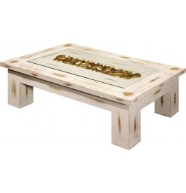 Table basse rectangulaire chêne massif blanc vitrée L170