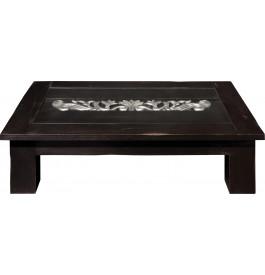 Table basse rectangulaire chêne massif noir vitrée L150