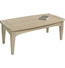 Table basse rectangulaire chêne massif taupe plateau convexe