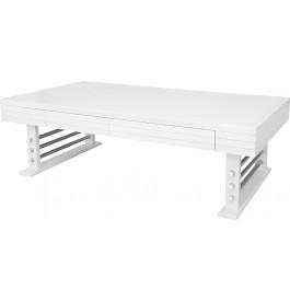 Table basse rectangulaire merisier massif laqué blanc brillant 2 tiroirs