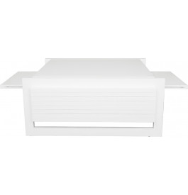 Table basse rectangulaire merisier massif laqué blanc brillant plateau amovible