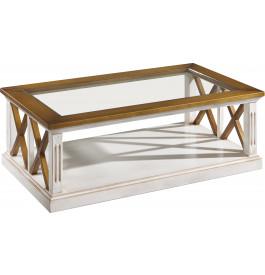 Table basse rectangulaire plateau verre blanc décors croisillons